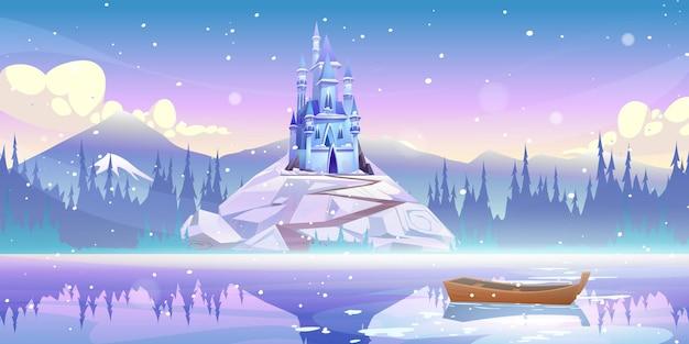 떨어지는 눈과 겨울 날에 물에 떠있는 보트와 강 부두에서 산 정상에 마법의 성 무료 벡터