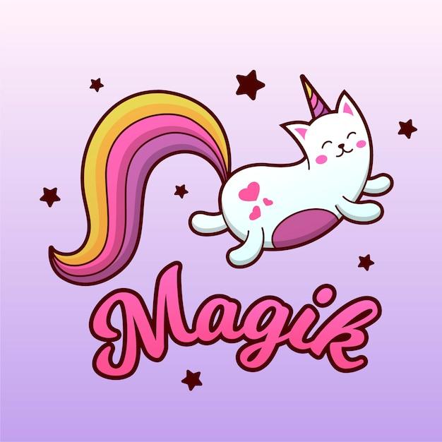 magic cat unicorn  premium vector