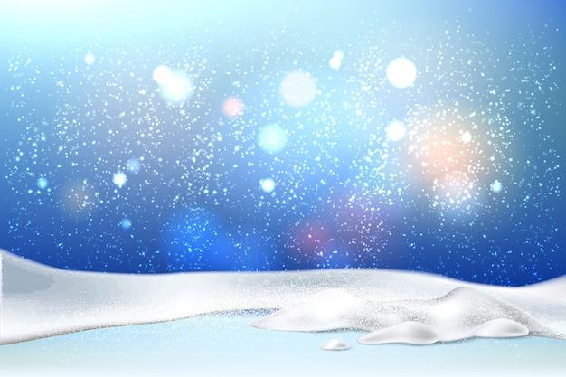 現実的な雪と魔法のクリスマス正月休日背景 Premiumベクター