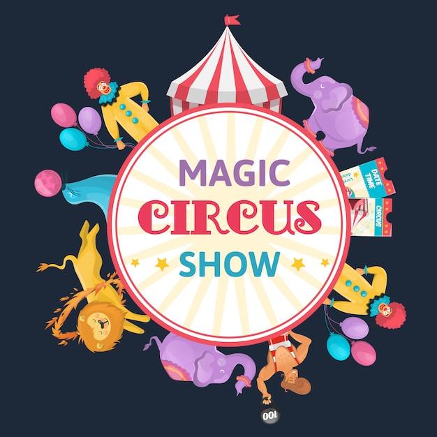 Магический цирк круглый состав Бесплатные векторы