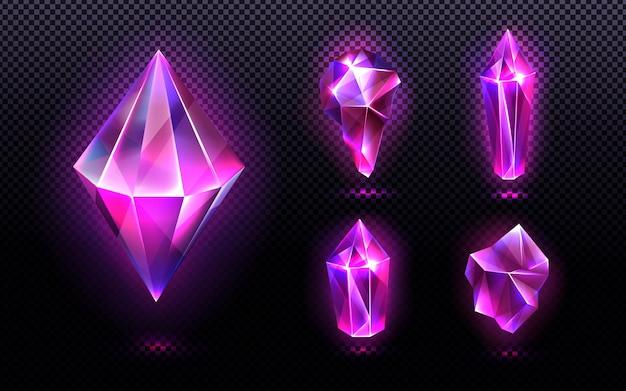 Luce di cristallo magica e pietre preziose Vettore gratuito
