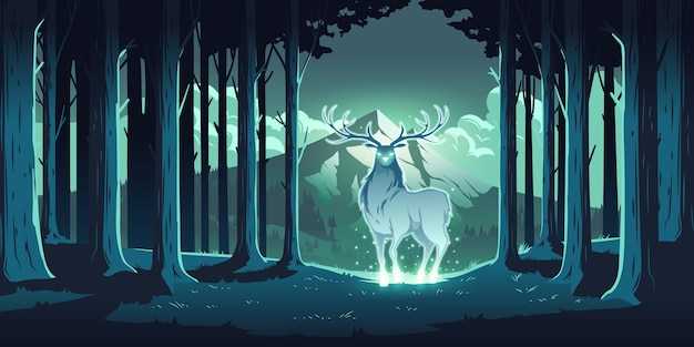 Magic deer in night forest, mystical stag with glowing eyes and body, soul of nature, wood protector, totemic animal at trees and mountain landscape, majestic reindeer, cartoon illustration Free Vector