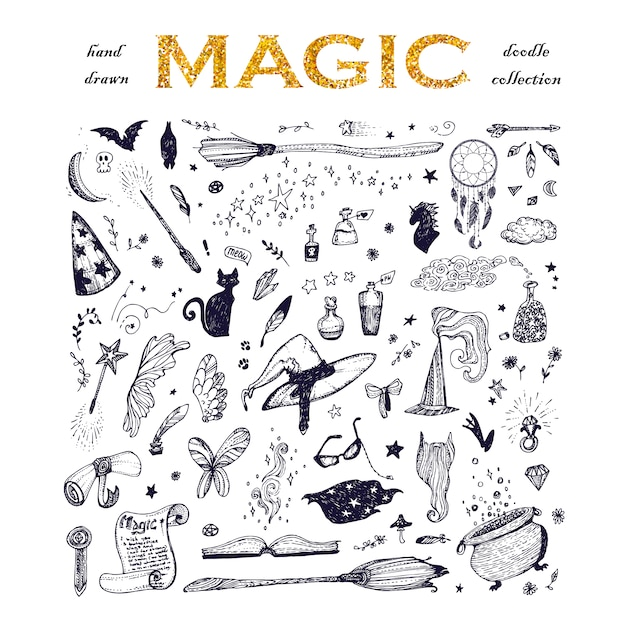 Magic elements collection Free Vector