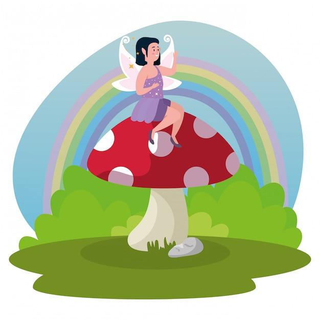 Magic fairy sitting fungus in scene magic Free Vector