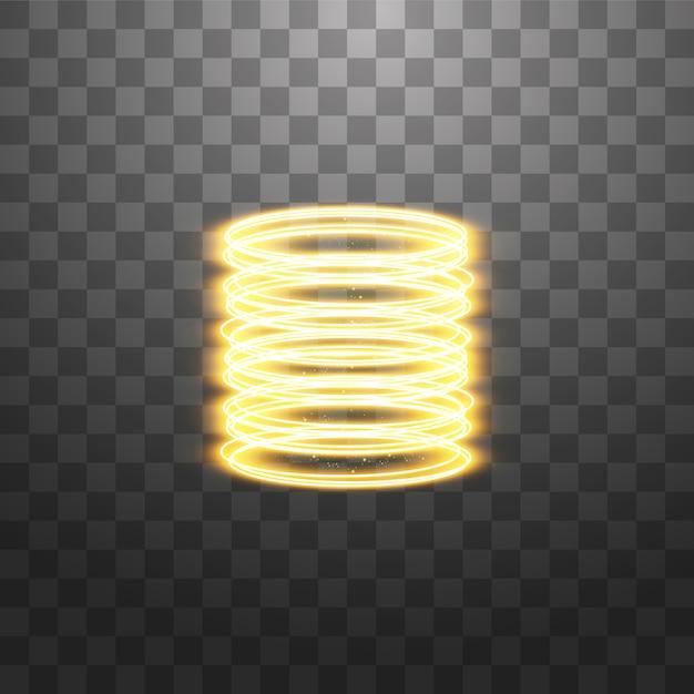 魔法のファンタジーポータル。未来的なテレポート。光の効果。透明の火花と夜のシーンの黄金のキャンドル光線。表彰台の空の光の効果。 Premiumベクター