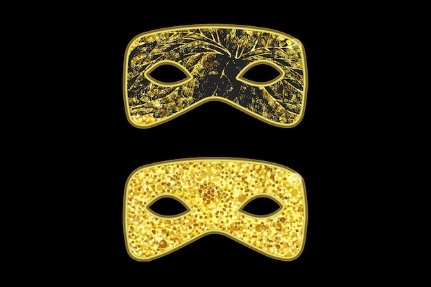 Magic gold mask with black floral pattern Premium Vector