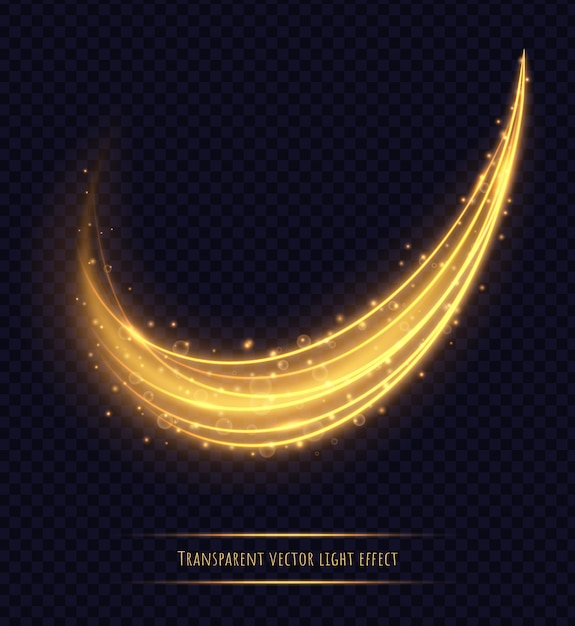 Magic golden light trail effect isolated. luminescent stardust with bright bokeh and sparkles. vector illustration. Premium Vector