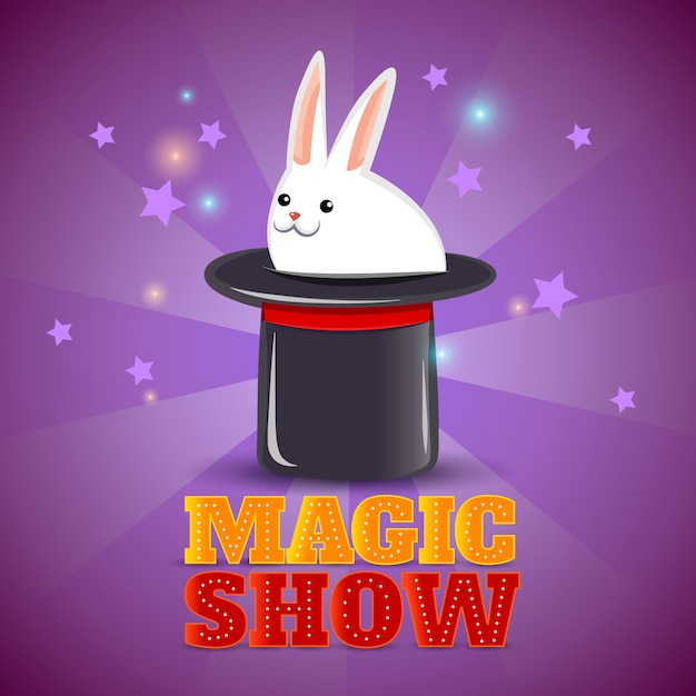 Magic hat trick show background poster Free Vector