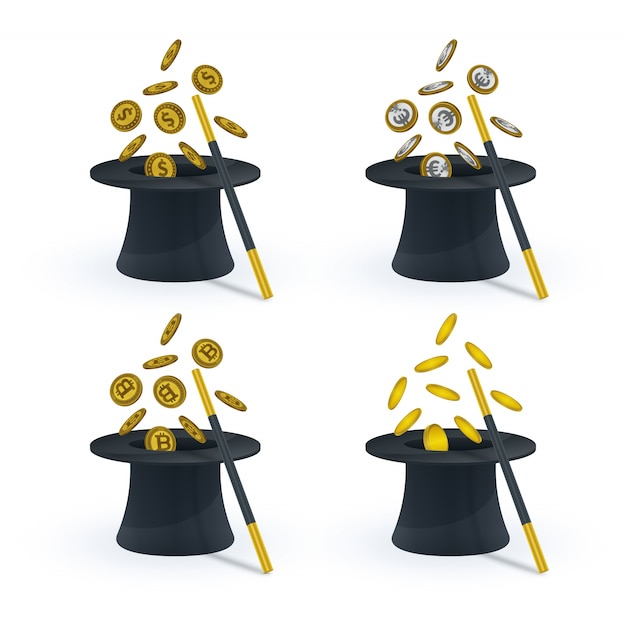 Magic hat with magic wand and coins Premium Vector