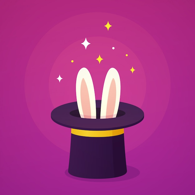 Magic hat with rabbit ears Premium Vector