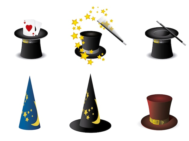 Magic hats collection Free Vector