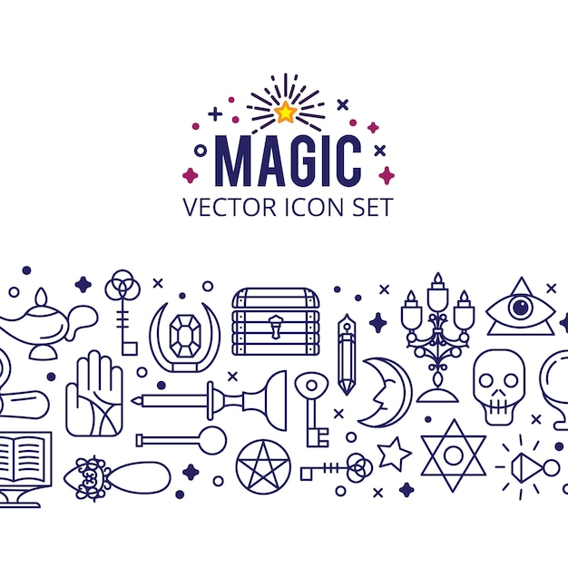 Magic icons set. sparkle magic lights. mystery miracle Free Vector