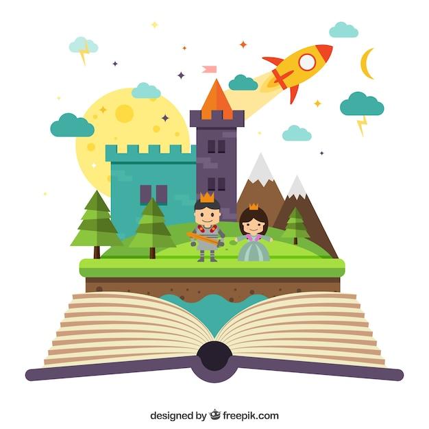 Kids Book Cover Background : Magic imaginative book vector free download