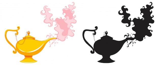 魔法のランタンやアラジンランプの色と白い背景で隔離のシルエット 無料ベクター