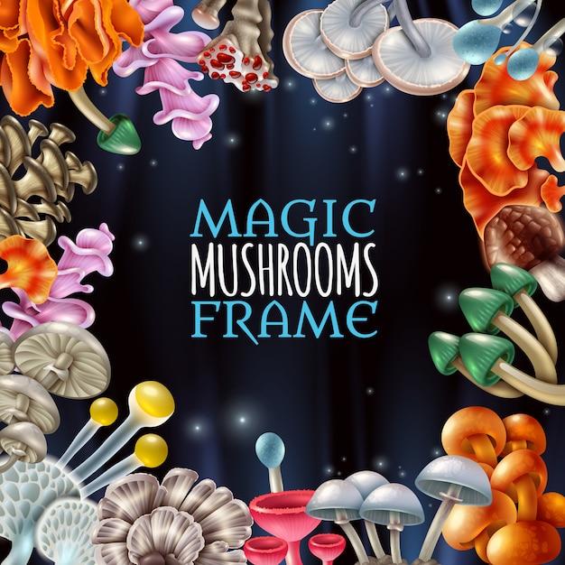 Magic mushrooms frame background Free Vector