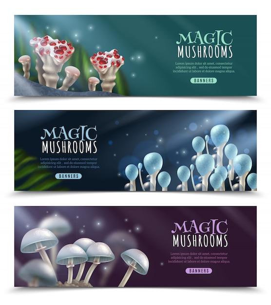 Magic mushrooms horizontal banners set Free Vector