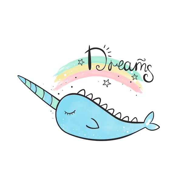 Magic narwhal. watercolor illustration Premium Vector