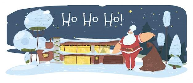 Magic night in christmas eve. santa claus with bag Premium Vector