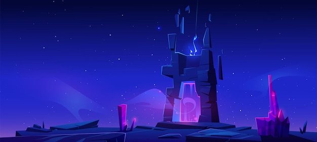 Magic portal on mountain at night. Free Vector
