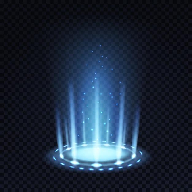 魔法のポータル。青いビームと光る粒子によるリアルな光の効果 Premiumベクター
