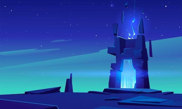 Magic portal in stone frame on desert landscape at night Free Vector