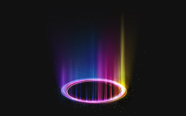 Magic rainbow round portal on black Free Vector