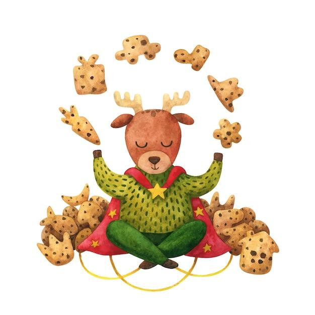 Волшебное печенье с оленями и шоколадной крошкой. детская рождественская иллюстрация. Premium векторы