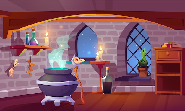 Magic room interior with witch stuff cauldron, staff with bird skull, burning candles, potion in beakers, bones and potted plant front of arch window with starry sky view, pc game cartoon illustration Free Vector