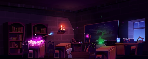 Magic school classroom at night Free Vector