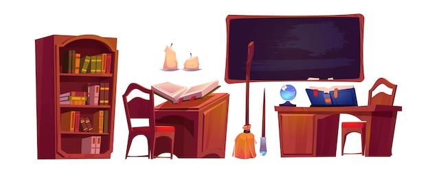 Интерьер школы магии с открытой книгой заклинаний Бесплатные векторы