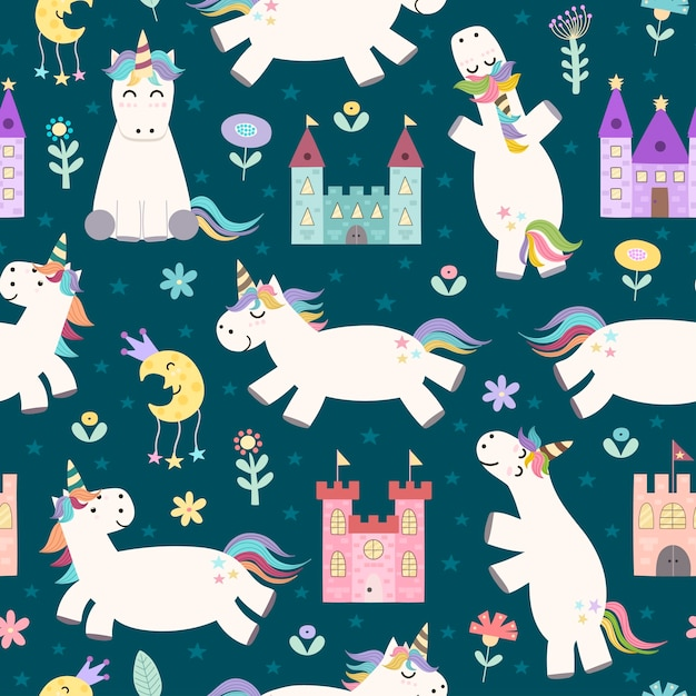 Magic seamless pattern with cute little unicorn and castles Premium Vector