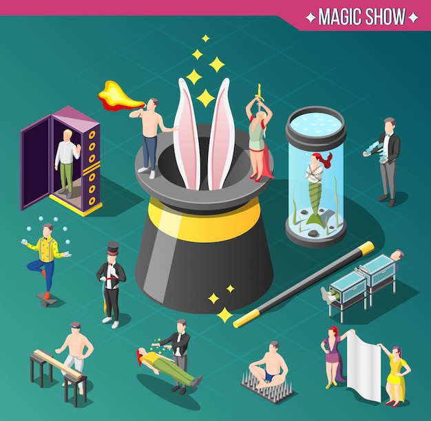 Magic show isometric composition Free Vector