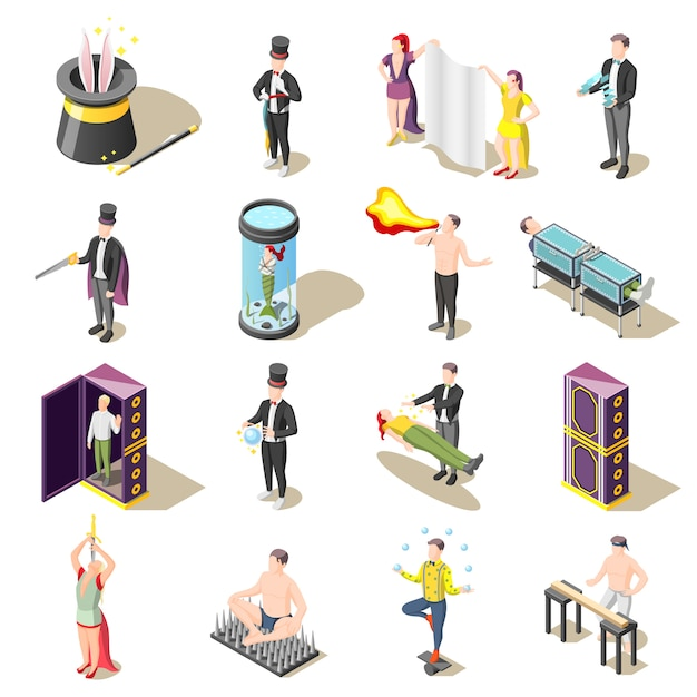 Spettacolo di magia isometrico con levitazione, trucchi di pericolo, giocoliere, misteri dell'illusionista Vettore gratuito