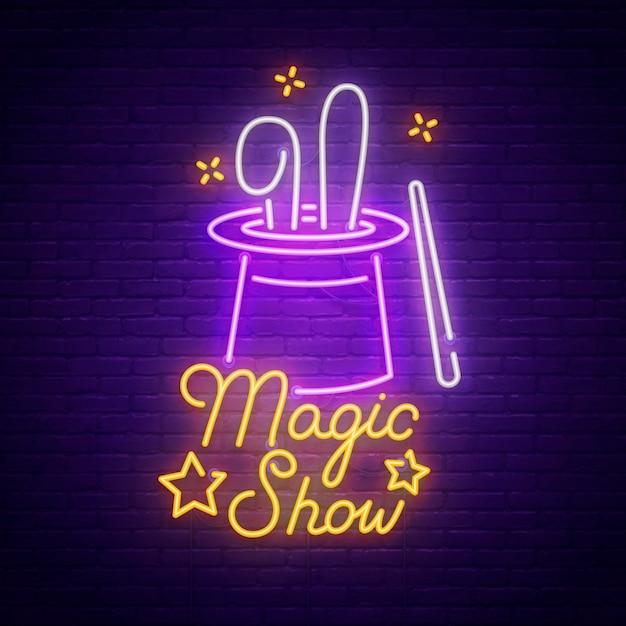Premium Vector | Magic show neon sign