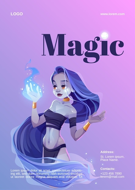 Manifesto di spettacolo di magia con ragazza mistica che tiene fuoco blu a portata di mano Vettore gratuito