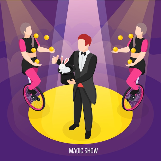 Magic show of street artists isometric composition conjurer during trick and girls jugglers on unicycles Free Vector