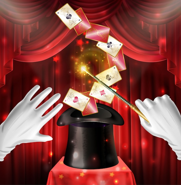 Magic show trick with cards flying out black hat Free Vector