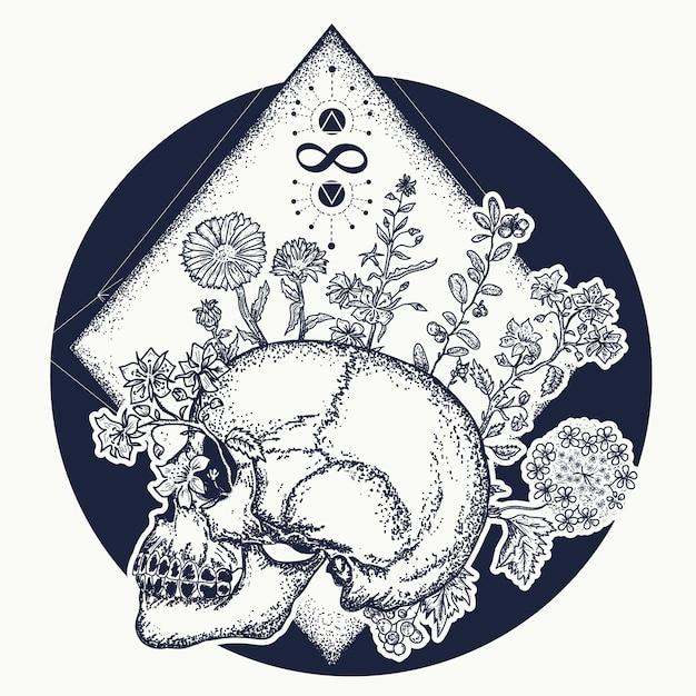 Magic skull tattoo Premium Vector