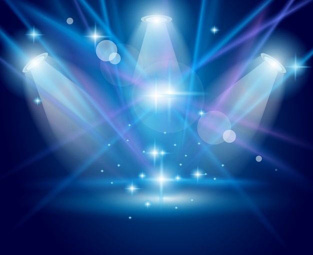 Magic spotlights with blue rays and glowing effect Premium Vector