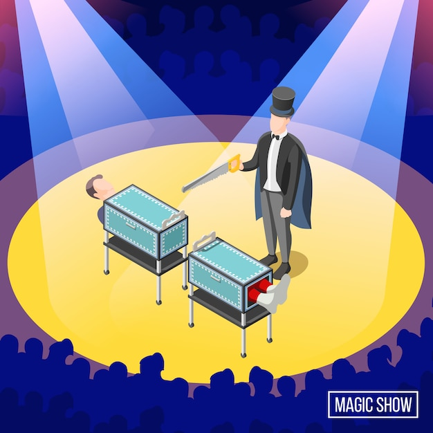 Magic trick on stage with audience  sawing of box with assistant Free Vector