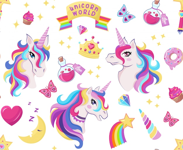 Magic unicorn icon seamless pattern with magic wand, stars with rainbow, diamonds, crown, crescent, heart, butterfly, decor for girl birthday, Premium Vector