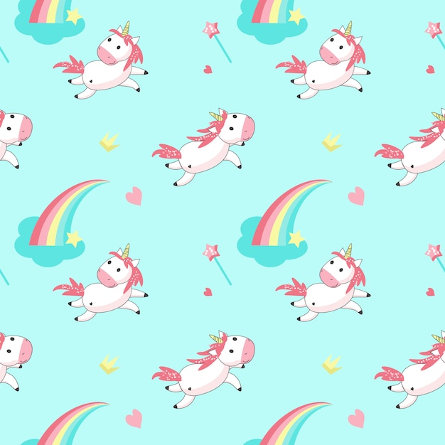 Magic unicorn vector seamless pattern Premium Vector