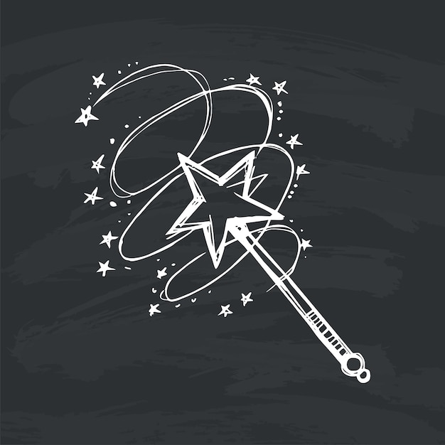 Magic wand on black background Premium Vector