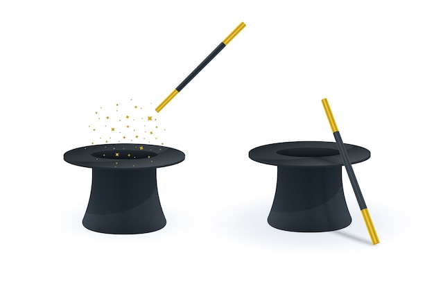 Magic wand and hat icons Premium Vector