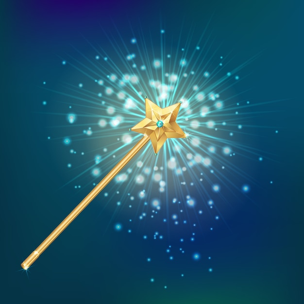 Magic wand realistic background Free Vector