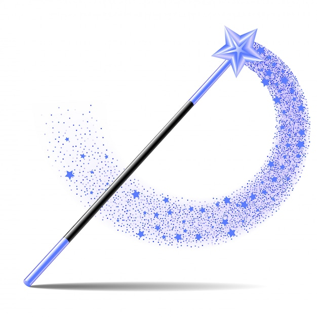 Premium Vector | Magic wand with blue star with magical sparkle trail on white background.