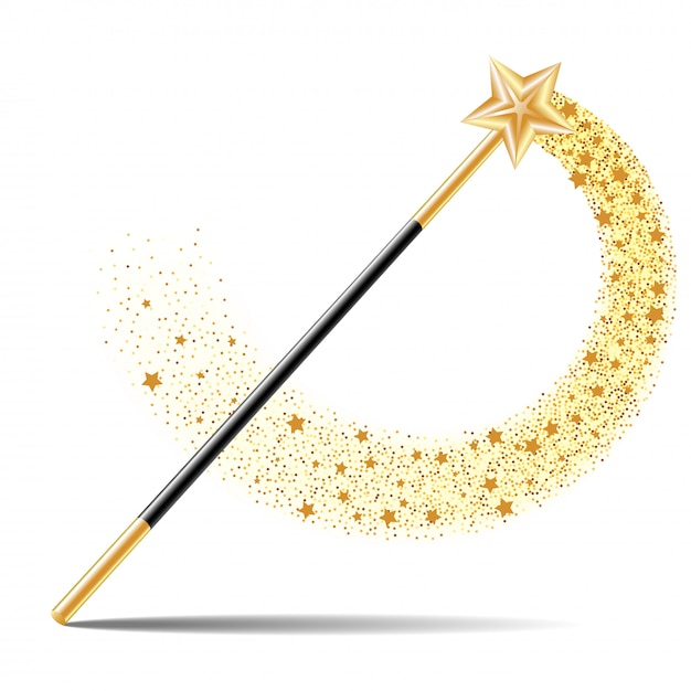 Magic wand with gold star with magical gold sparkle trail isolated Premium Vector