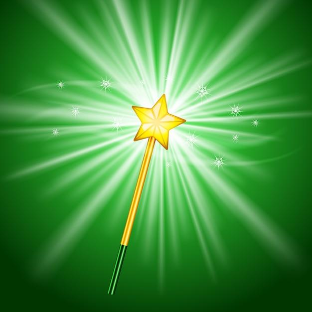 Волшебная палочка со звездой на зеленом фоне Бесплатные векторы