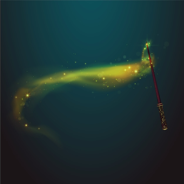 Magic wand with yellow trail background Free Vector