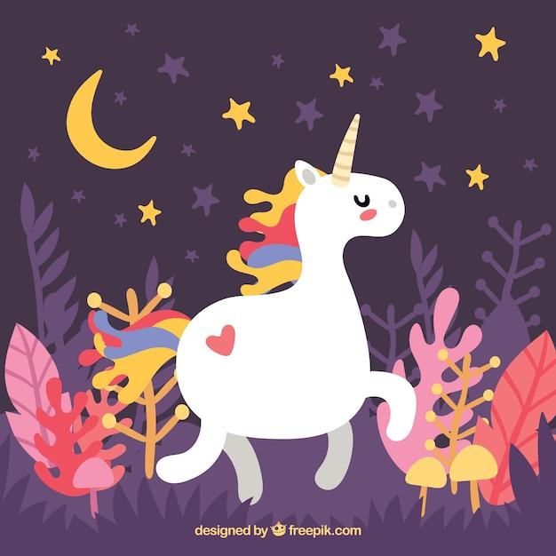 Magic world background with unicorn